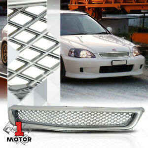 For 1999 2000 Honda Civic X Mesh Glossy Chrome Abs Front Bumper Grille Grill