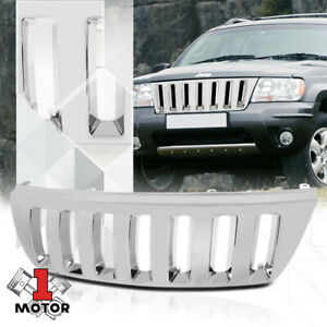 For 1999 2004 Jeep Grand Cherokee vertical bar Chrome Abs Front Bumper Grille