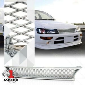 For 1993 1997 Toyota Corolla x mesh Glossy Chrome Front Bumper Grille grill