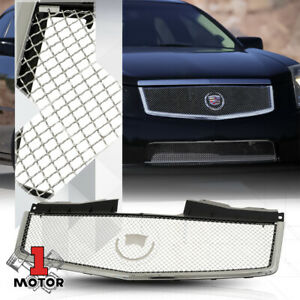 For 2003 2007 Cadillac Cts 3d Wave Mesh Glossy Chrome Abs Front Bumper Grille