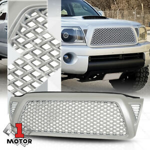 For 2005 2011 Toyota Tacoma 3d Wave Mesh Matte Silver Abs Front Bumper Grille