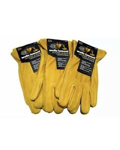 Wells Lamont Premium Cowhide Leather Work Gloves 3 Pair Pack Size Medium