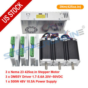 3 Axis Cnc Kit 3nm Nema 23 Stepper Motor 425oz in Driver Dm556y Power Supply
