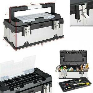 Tool Box Portable Tool Chest Best Tools Organizer Stainless Steel Mechanic 18 In