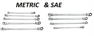 Mountain Double Box Reverse Ratcheting Flex Head Wrench Set Combo Metric And Sae