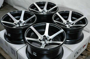 15 4x100 Black Wheels Fits Toyota Corolla Honda Civic Cobalt Jetta 4 Lug Rims