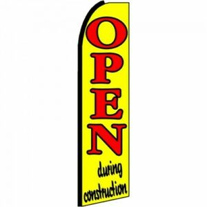 Open During Construction Feather Flutter Swooper 3 Ft Banner Flag And Pole Only