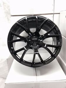 4 New Dodge Srt Hellcat Staggered 22 Gloss Black Wheels Oe Charger Challenger
