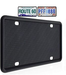 Plusfit Silicone License Plate Frame Black Drainage Hole
