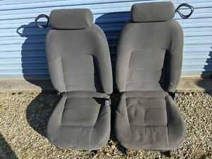 Ford Mustang Front Seat Set Driver Power Charcoal Cloth Oem