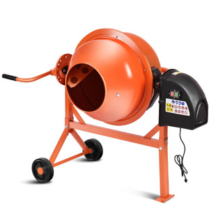 Cement Mixer Concrete Mortar Machine Portable Electric Steel Heavy Duty Wheels