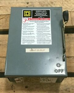 Square D 30 Amp Fusible Safety Switch Du321 240vac Series E2 Single Throw