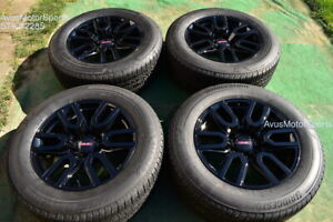 20 Gmc Sierra 1500 Oem Factory Black Wheels Tires Yukon Tahoe Silverado Chevy