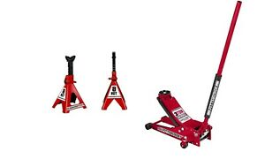 Floor Jack 3 Ton Low Profile Rapid Pump 6 Ton Steel Jack Stands Red