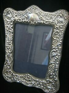 Large Vintage Ornate Hallmarked Kfl Sterling Silver Reprosse Photo Frame 9x12