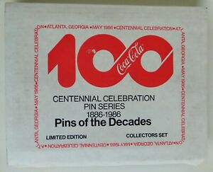 COCA COLA CENTENNIAL CELEBRATION PIN SERIES 1886-1986 LIMITED EDITION N.O.S.