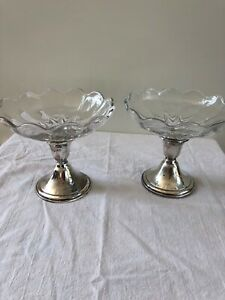 Pair Of 2 Sterling Silver Glass Candy Compote Candle By Newport 4 Gorham 925