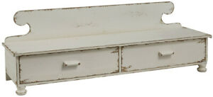 Primitive Aged Whitecounter Shelf Vintage Look Farmhouse Rustic Drawers Footed