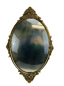 Vintage Brass Photo Victorian Ornate Brass Oval Picture Frame Convex Glass