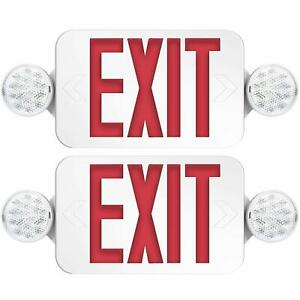 2 Pack Exit Sign With Emergency Lights Two Led Adjustable Head Exit Ul Listed
