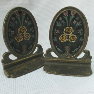 Antique Art Nouveau Cast Iron Oval Bookends Hand Painted Flowers Urn Marked 188