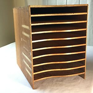 Vintage Antique Wood Office Paper Or File Sorter Organizer Desktop Nyc Estate