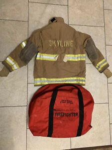 Firefighter Globe Fireman Suit Jacket Bunker Coat Bag Costume Vintage 46 X 32