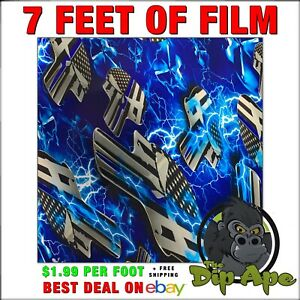 Hydrographic Film Punisher Skulls Blue Line Electric Police Hydro Dip Dipping 7