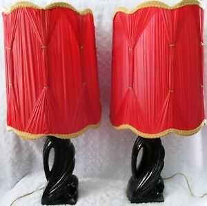 2 Vtg Hollywood Regency Mcm Abstract Black Ceramic Table Lamps Pinch Pleat Shade