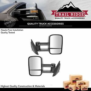 Trail Ridge Tow Mirror Manual Textured Black Pair Set For Silverado Sierra New