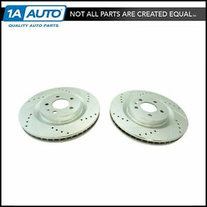 Front Performance Drilled Slotted Zinc Coated Rotor Pair For Mustang