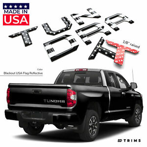 Blackout Usa Flag Reflective Raised Letters For Toyota Tundra 2014 2020 Tailgate