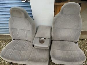 Ford F150 Front Seat Split Bench With Flip Down Console Gray Cloth