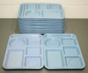 20 Carlisle School Cafeteria Lunch Tray Blue 10 X 14 6 Compartment Divided