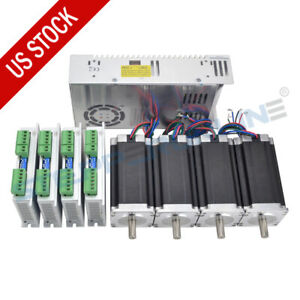 4 Axis Cnc Kit 425oz in Nema 23 Stepper Motor Stepper Driver Power Supply