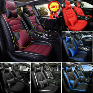 Car Seat Covers Top Pu Leather Front Rear Full Set Universal For 5 seats Cars