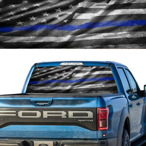 Rear Window Graphic Decal Perforated American Distressed Flag Police Blue Line