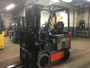 2016 Toyota 5000 Lb Electric Forklift With Side Shift And Triple Mast