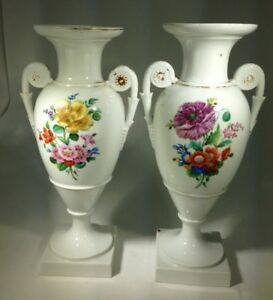 Antique Two Elegant German Dresden Porcelain Hand Painted Urn Vases With Handles