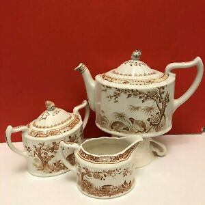 1921 Furnival S Quail Pattern 5 Piece Tea Set Teapot Sugar And Creamer Vg Cond