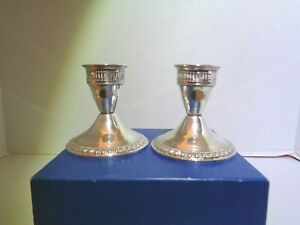 Pair Of Vintage Sterling Silver Duchin Creation Weighted Candlesticks Holder
