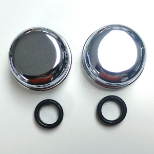 Chrome Valve Cover Push in Breather Caps Pair W Grommets Ford Chevy Mopar