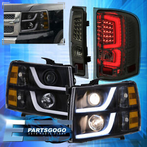 For 07 13 Chevy Silverado Led Drl Black Headlights Smoked Tinted Tail Lights