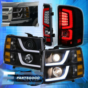 For 07 13 Chevy Silverado Led Drl Black Headlights Black Housing Red Tail Lights