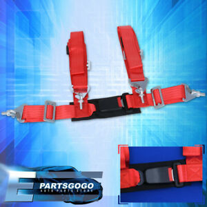 4 point 2 Red Nylon Universal Strap Harness Safety Buckle Racing Seat Belt