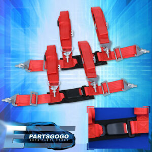 4pt 2 Red Nylon Universal Strap Harness Safety Buckle Racing Seat Belt Set