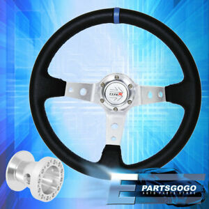 Deep Dish Black Steering Wheel Silver Center Blue Stitching For 96 00 Civic