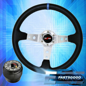Deep Dish Black Steering Wheel Silver Center Blue Stitching For 96 15 Civic