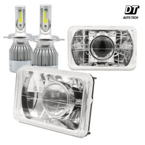 4 x6 Sealed Beam Headlight Conversion Chrome Clear Lens 100w H4 Cree Led Kit