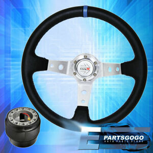 Deep Dish Black Steering Wheel Silver Center Blue Stitching For 1988 1991 Civic